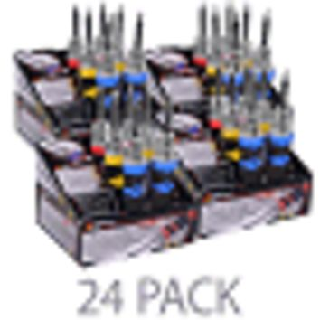 (24 Pack) Performance Tools LED Screwdriver with Interchangable Tips in Point of Sale Boxes (Assorted Colors) 41019