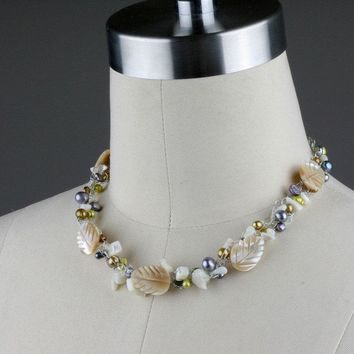 Shell pearl crochet wiring choker necklace Bridesmaids gifts Free US Shipping handmade anni designs