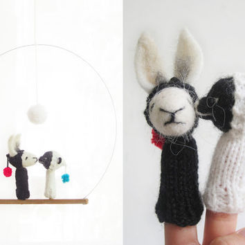 FINGER PUPPET MOBILE / Wall Hanging, Needle Felted White Rabbit and Black Bear, baby, children, wedding gift, eco-friendly toy, nursery art