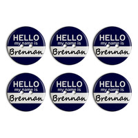 Brennan Hello My Name Is Plastic Resin Button Set of 6