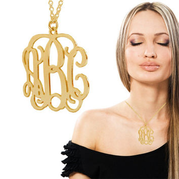 3 Initial Monogram Necklace- 2 Inch 0.7MM Thick - 18k Yellow Gold or Rose Gold Plated On Brass