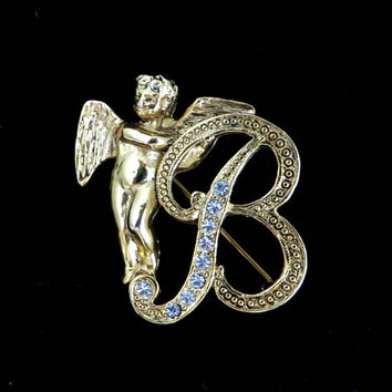 Initial B Rhinestone Brooch, Vintage Guardian Angel Pin, Gold Tone Letter B Birthday Gift Idea