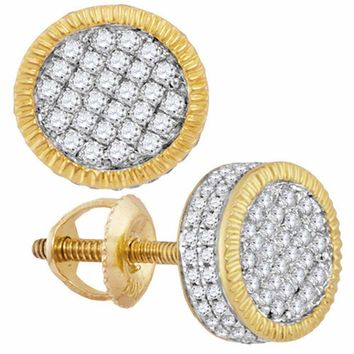10kt Yellow Gold Mens Round Diamond 3D Circle Cluster Stud Earrings 5-8 Cttw - FREE Shipping (US/CAN)