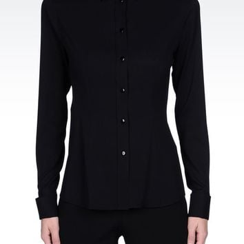 Emporio Armani Women Long Sleeve Shirt - STRETCH SILK SHIRT WITH DOUBLE CUFFS Emporio Armani Official Online Store