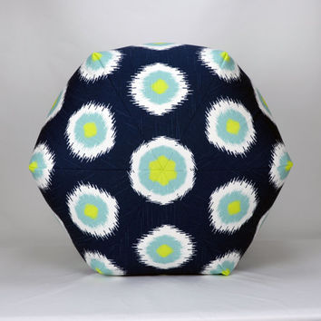 "25"" Floor Ottoman Pouf Pillow Canal, Navy, Aqua, Citrine and White Slub - Domino Ikat Contemporary Modern Print"