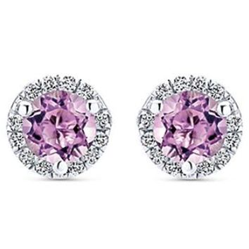 Gabriel Round Cut French Rose Amethyst & Diamond Halo Earrings