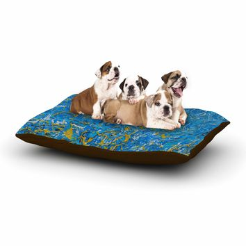 "Bruce Stanfield ""Marbled Blue And Gold"" Blue Gold Painting Dog Bed"