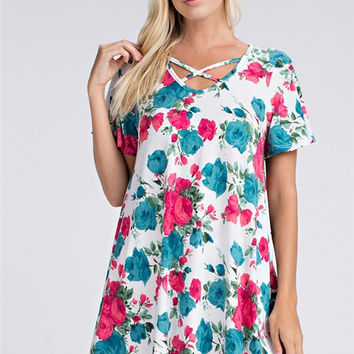 Pink and Blue Floral Print Criss Cross Neck Tunic