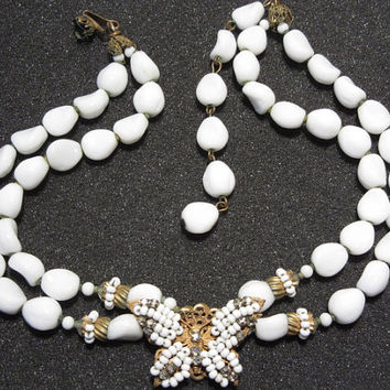 Signed Miriam Haskell Necklace Butterfly Pendant Double Strand White Vintage