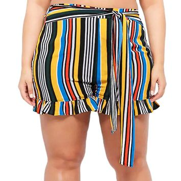 Ruffles Shorts Summer Fashion Womens Casual Stripe Hot Plus Size Boknot Bandage Shorts Of Female Summer Casual Brand Shorts
