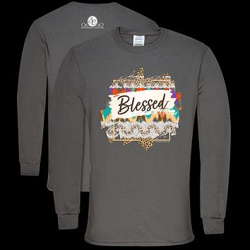 Southern Couture Soft Collection Pattern Blessed Long Sleeve T-Shirt