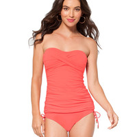 Anne Cole Signature Color Blast Shirred Bandeau Tankini Top - Coral