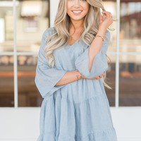 Pebble Blue Babydoll Dress