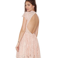 Light Pink Floral Lace Backless Skater Dress