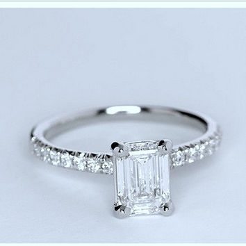 1.27ct Emerald cut diamond Engagement Ring GIA certified I-VS1 Platinum JEWELFORME BLUE 900,000 GIA CERTIFIED diamonds