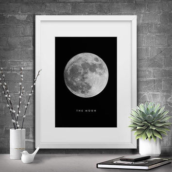 Printable Art, Moon, La Luna Print, Moon Print, Instant Download, Moon Photography, Moon Printable Art, Moon Art, Full Moon Poster, Wall Art