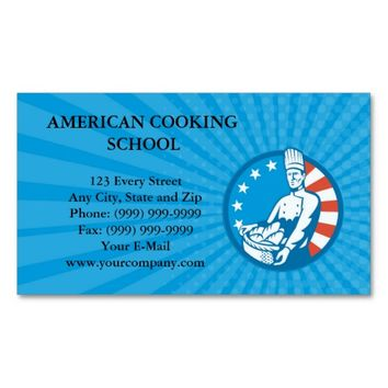 Business card American Chef Baker Cook With Basket