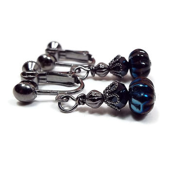 AB Iris Black Clip on Earrings Gunmetal Plated Drop Earrings with Faceted Glass Crystals and Czech Beads Modern Goth Jewelry Screw Back