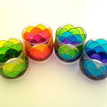 Hand Painted Small Stemless Wine Glasses Fish scales Glasses Set of 4 Mermaid Design Drinking Glasses Candle Holders