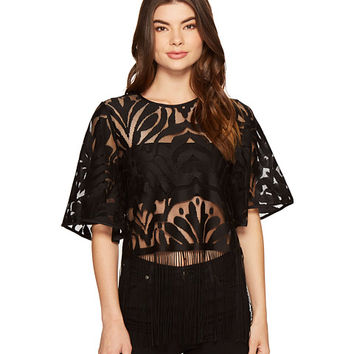ROMEO & JULIET COUTURE Patterned Lace 3/4 Bell Sleeve Top
