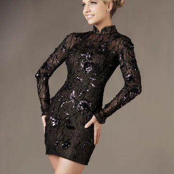 Black & Amethyst Sequin Embellished Lace Long Sleeve Homecoming Dress - Unique Vintage - Cocktail, Pinup, Holiday & Prom Dresses.