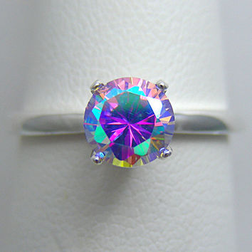 Unique Promise Ring | Cosmic Muse Mystic Fire 1ct Tiffany Ring | Custom Re Size 2 3 4 5 6 7 8 9 10 11 12 13 14 15 16 CM1TSP