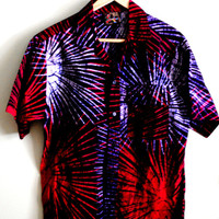 1980s Hawaiian tie dye palm tree print shirt