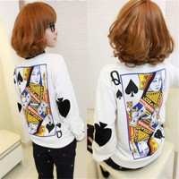 Women's Fashion Hoodies Sweatshirts Loose Pullover Causel Tops Cotton Blouse Poker Print  White S-XL = 1919980292