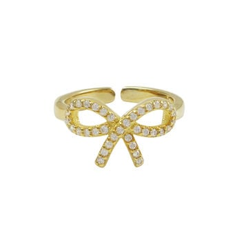Gold Plated Sterling Silver, CZ Bow Adjustable Ring