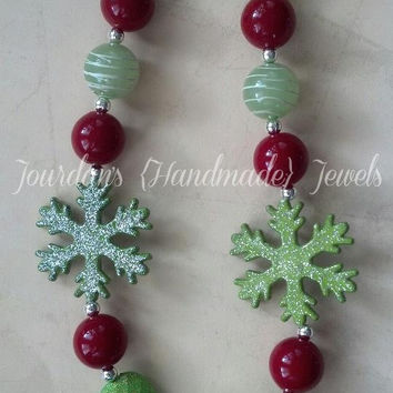Red, Green Sparkly Snowflake Chunky Beaded Necklace FREE Shipping