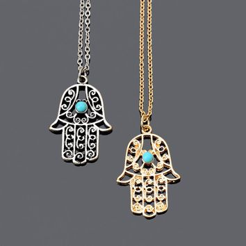 Vintage Brand Design Gold Luck Hamsa Hand Pendants Necklace Luck Fatima Hand Palm Statement Necklace