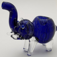 Blue White Elephant Animal Pipe