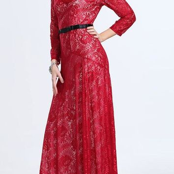 Stylish V Neck 3/4 Sleeve Lace Women's Maxi Dress