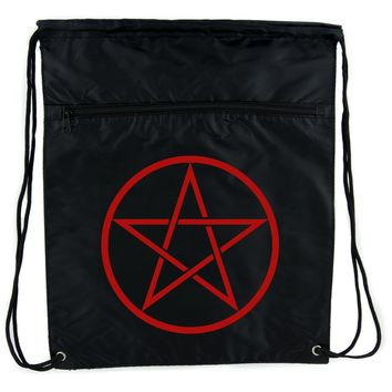 Red Woven Pentacle Cinch Bag Drawstring Backpack Witch Occult