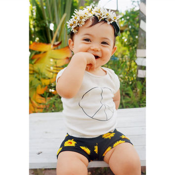Sunflower Shorties, Baby Shorts, Toddler Shorts, Girl Shorts, Shorties, Toddler Shorties, Baby Shorties