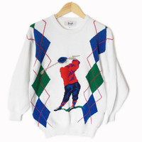 Pringle of Scotland Men's Argyle Tacky Ugly Golf Sweater