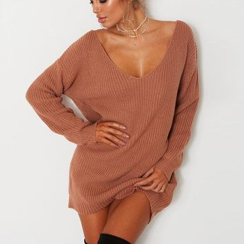 V Neck Off Shoulder Women's Sweaters Full Sleeve Long Casual Jumper Pullovers Top