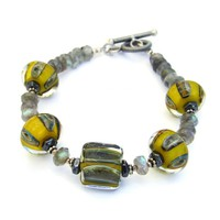 Yellow and Gray Lampwork Boro Glass Bracelet, Labradorite Hematite Handmade Jewelry
