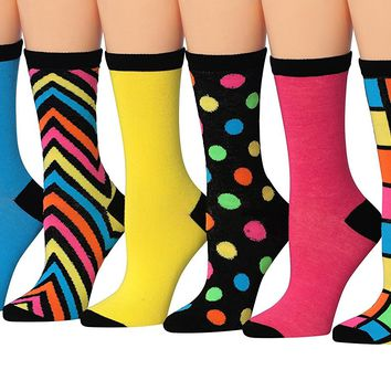 Tipi Toe Women's 6-Pairs Colorful Funky Patterned Crew Dress Socks