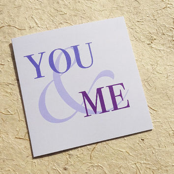 Anniversary card, you & me romantic greeting card, simple blue ampersand design perfect for a wedding, engagement or valentine card