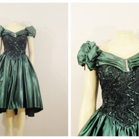 Vintage Dress 80s Prom HI Low Assymetric Green Satin Sequin Ruffle Sleeves Black Crinoline Size Small to Medium