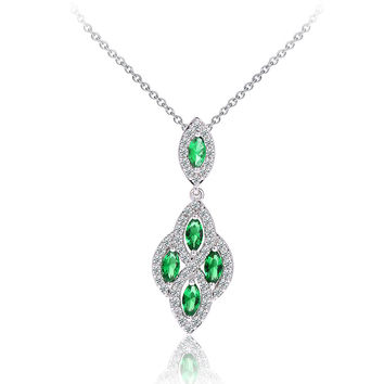 Fashion CUBIC ZIRCON Green Emerald statement Necklace Stones wedding jewelry for bridal Lucky Shining Leaves Necklaces pandents