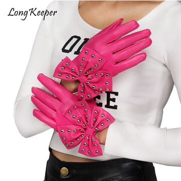 Long Keeper Faux Leather Gloves For Women Bowknot Ladies's Dance Party Punk Gloves Full Finger Winter Halloween Rivets Gloves
