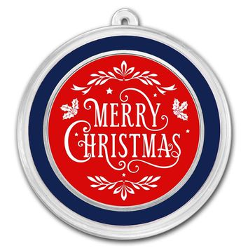1 oz Silver Round - Merry Christmas Red