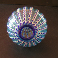 Vintage Hand-blown Blue and White Art Glass Ball/Sphere Funky Elegant Statement Piece For Office Desk/Coffee Table or Mantle