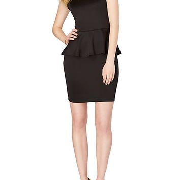 Solid Peplum Knit Dress