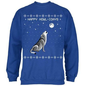 CREYCY8 Happy Howl-idays Holidays Wolf Ugly Christmas Sweater Mens Sweatshirt