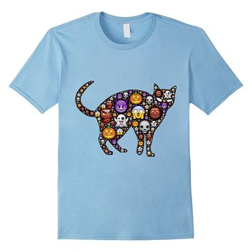 Halloween Cat Cloud Emoticon Funny Tshirt