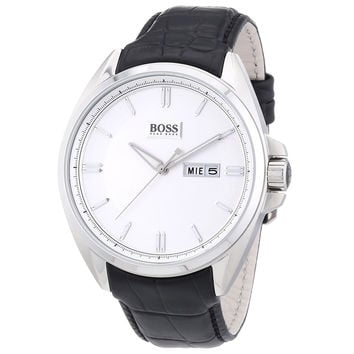 Hugo Boss 1512875 Men's Silver Dial Black Leather Strap Watch