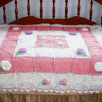 Crochet Throw Blanket with Flowers Handmade Granny Square Afghan Pink Purple White Mothers Day
